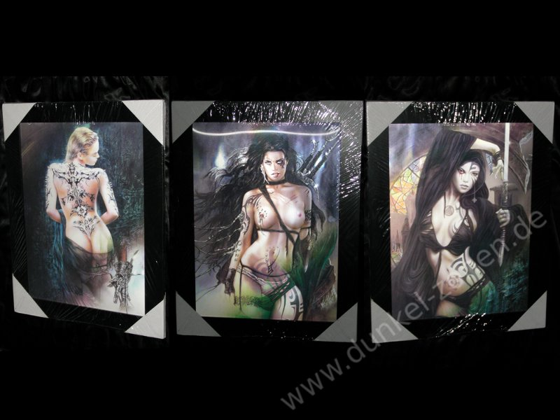 EFFEKTBILD 3 in 1 - LUIS ROYO GIRLS - sexy Fantasy Gothic Babes Tattoos Piercings